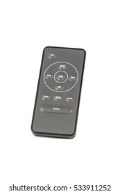 Small black unbranded remote control isolated on white background