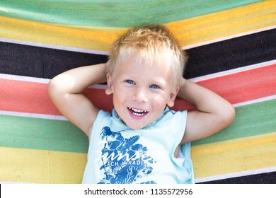 A small blonde boy lies in a hammock. cute boy is walking on a summer day. Happy kid walk at the yard. Summertime