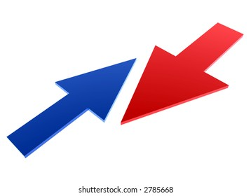 small blue arrow against big red arrow