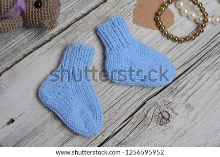 34c6246a22f27 Small Blue Baby Socks Made Cotton Stock Photo (Edit Now) 1256595952 ...