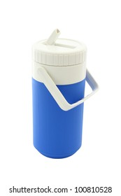 Small blue can plastic cooler and tube on white background.
