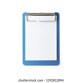 Small blue clip board isolated on white.