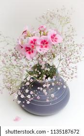 small blue flower vase with gypsophila and geranium on white background
