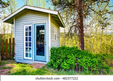 Small blue shed close-up. Forest landscape in the background. Northwest, USA