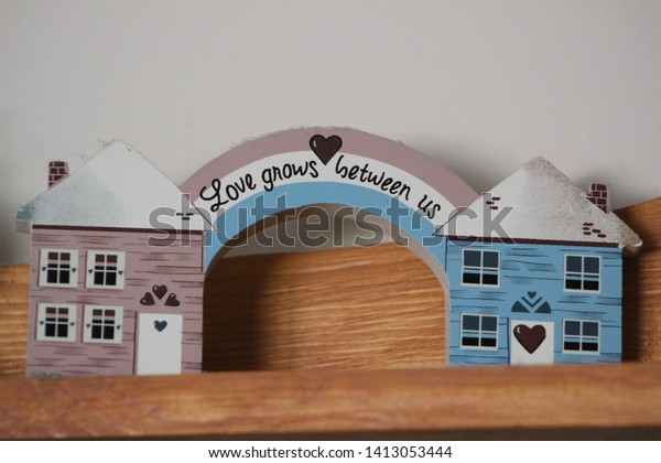 Small Blush Pink Sky Blue Houses Stock Photo Edit Now 1413053444