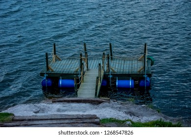 The small boat dock on the Emre lake in the city of Afyon in Tur