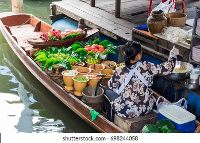 Small boat in the floating market