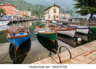 small boat harbor in Nago-Torbole, Lake Garda, Italy