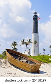 A small boat has been washed up onto the shore near to the historic Loggerhead Key lighthouse [1858] on the Dry Tortugas.
