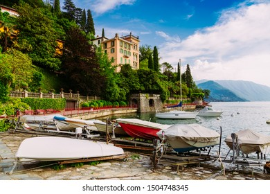 Small boat marina on Lake Come, Varenna town, Italy