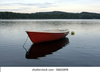 Small boat on a lake in Sweden