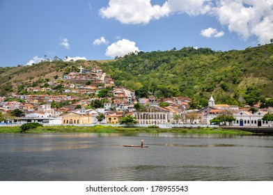 Small boat on a river in Cachoeira, Bahia (Brazil)