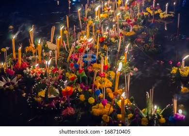 Small boats with candles and flowers are given for Thailands traditional Loy Krathong Festival