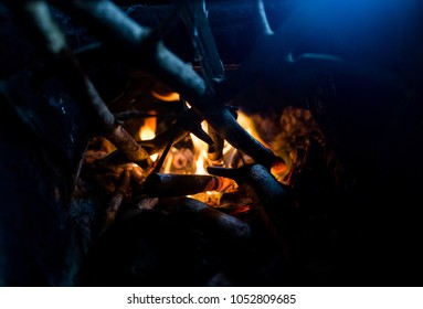 Small bonfire in the furnace