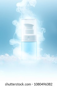 Small Bottle Pastel Color for spray very cool fresh with dry ice vapour on blue tone background