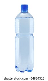 Small bottle of water isolated on white (with clipping patch)