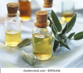 Small bottles of sage oil