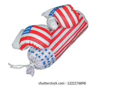 small boxing gloves with small sandbag on white background,copy space