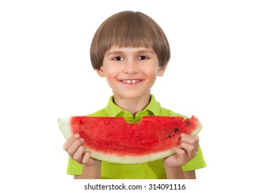 Small boy is eating slice of watermelon isolated on white background