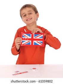 small boy with a union jack pencil case