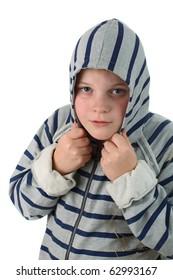 Small boy wearing sweatshirt hidden in a hood isolated on white