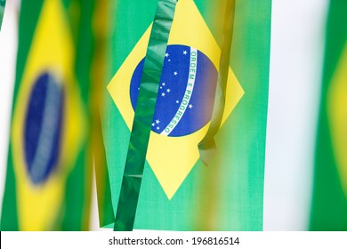 Small Brazil flags commonly used to decorate streets to support soccer cups.