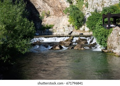 A small break in the Buna River in Blagaj, Bosnia and Herzegovina