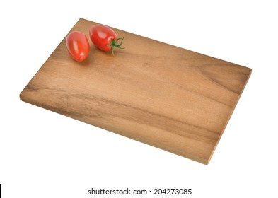 Small breakfast board of wood with decoration on white