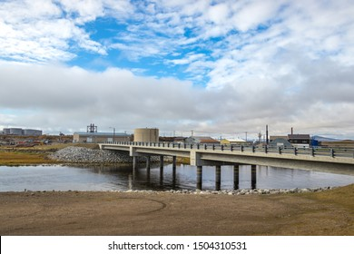 A small bridge on Jafet Dr connecting the Port Rd and Seppala Dr in Nome, Alaska, USA.