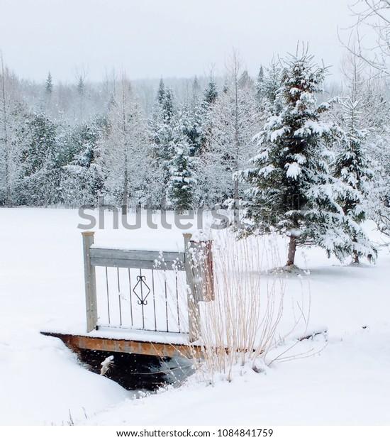 Small bridge in the snow