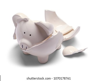 Small Broken Piggy Bank Isolated on a White Background.