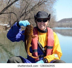 A small brown flathead catfish being held vertically by a smiling woman sitting in a canoe in a blue and gold dry suit on a mirrored river in winter.