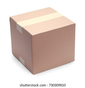 Small Brown Square Cardboard Box Isolated on White Background.