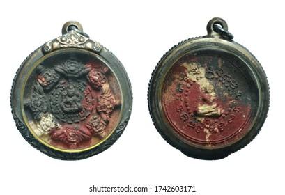 Small Buddha image or sacred Amulet of thailand, on white background