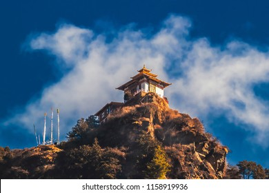 Small building on the way to Taktshang Goemba(Tiger's Nest Monastery), the most famous Monastery in Bhutan, in a mountain cliff, Himalayas