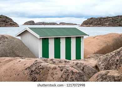 Small building at the skerry coast near Bovallastrand (Sweden). Typical situation for the skerry coast.