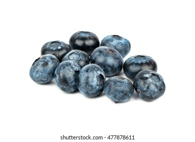 Small bunch of fresh blueberries on a white background