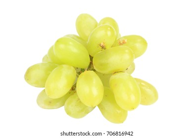 A small bunch of white grapes on a white background