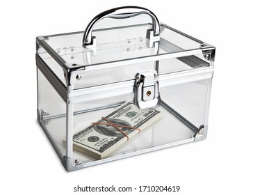 A small bundle of dollars, tied with an elastic band, lies in a closed transparent case. Isolated on a white background.