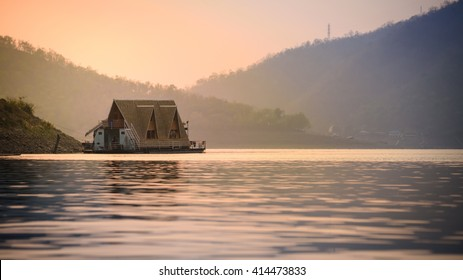 Small bungalow in river morning time