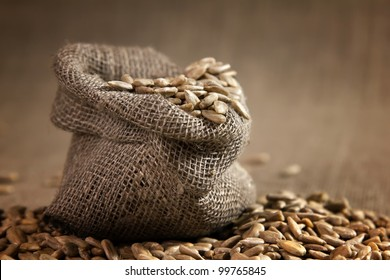 Small burlap sack with seeds