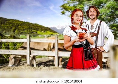 Small business of agriculture and Two young people in bavarian clothes.