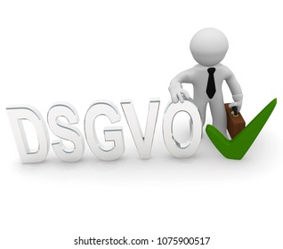 Small business character with the letters DSGVO and a green check mark, 3d concept rendering