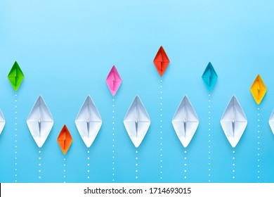 Small business, Business competition concept with paper ship on blue background