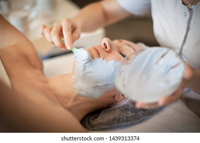Small business concept: cosmetic procedures at home. Treatment for face