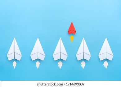 Small business concept with small red paper plane on blue background - Shutterstock ID 1714693009