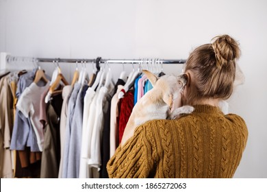 Small business, Fashion designer workplace, Tailoring Shop. Fashion Designer with pet dog Working In Her Studio. Beautiful female designer working in atelier with fabrics