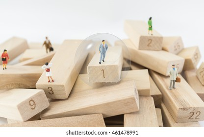 Small business figures. The choice of the best suited employee. Snowglobe as a symbol of chosen one by the recruiter. HR, HRM, HRD ,CRM concepts.