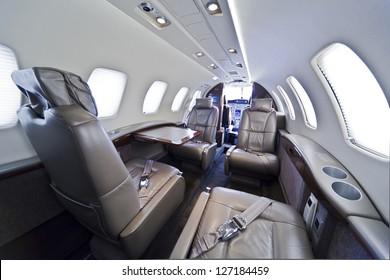 Small business jet plane interior