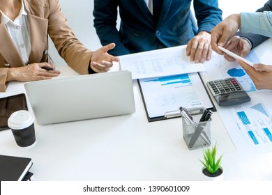 small business Meeting group in conference room, Business person discussing work sitting at table in office.